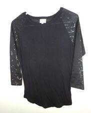 Lularoe Randy Top Women's Size XS Sequin Sleeves Baseball Tee Black