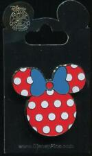 Minnie Mouse Head Icon Red White Polka Dots Blue Bow Disney Pin 102941