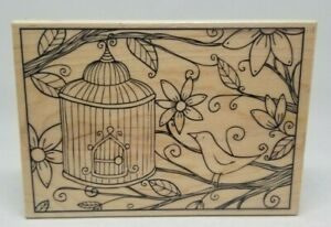 Bird Cage wood mount rubber stamp Hampton Art PS0579 flowers outlines