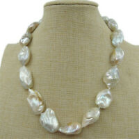 15-22mm White Baroque Pearl Necklace 18Inch Clasp Handmade Charm Chic Jewelry