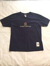 Vintage Tommy Hilfiger T Shirt Navy Blue Sz L Crest Logo Spell Out Rare