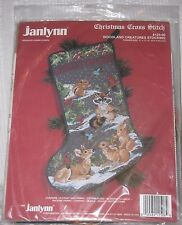 NEW Vtg JANLYNN Woodland Creatures Christmas Cross Stitch Stocking Kit 125-06