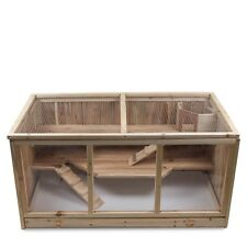XXL Hamsterkäfig Kleintierkäfig Nagerkäfig  aus Holz naturbelassen mit 3 Etagen