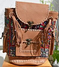 Handmade Genuine leather, hand embroidery backpack,Bag-Indian Handicraft