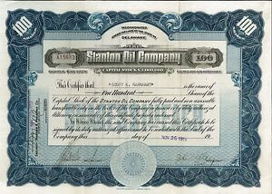 Stanton Oil Company > 1919 old stock certificate share