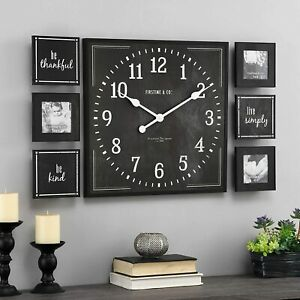 Black Farmhouse Large Clock Gallery Wall Frame Set Kitchen Rustic Modern Living