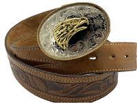 Montana Silversmiths Men's Belt Buckle Hand tooled Leather Belt Western eagle 38