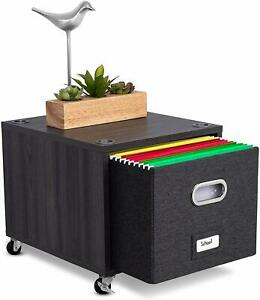BirdRock Home Stackable Rolling File Storage Cube Driftwood Gray