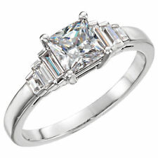 1.01 carat Princess cut Diamond GIA E color VS1 clarity 14k White Gold Ring