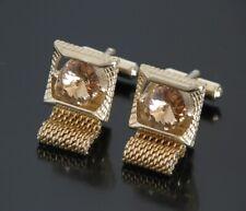 Vtg Jeweled Amber Stone Wrap Around Cufflinks Crystal Gold Tone Square