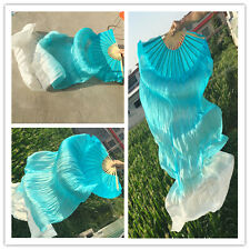 100% Real Silk Belly Dance Fan Veil Two Colors Left/Right Hand