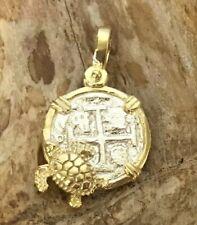 ATOCHA Coin Pendant Turtle GP over 925 Sterling Silver Sunken Treasure Jewelry