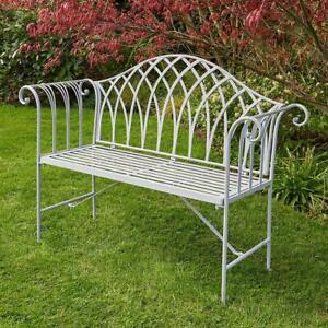 Grey Garden Bench Metal 2 Seater Patio Chair Outdoor Seating Ornate Design
