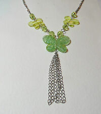 "24"" LONG lime GREEN ACRYLIC CRYSTAL butterfly NECKLACE SILVER PL TASSEL fun"