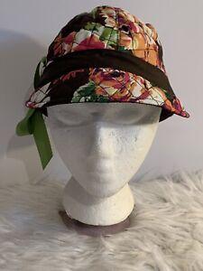 "Vera Bradley Newsgirl Hat ""English Rose""  Cap Fleece Lined One Size Fits All"