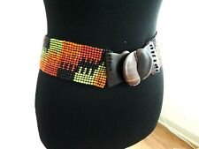 Women's Stretchy Beaded Wide Band Boho Belt Wooden Clasp Buckle Multicolor OSFM