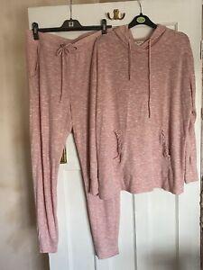 Matalan Loungewear Set Pink White Space Dye Size L 14 Long Lined Hoodie BNWOT