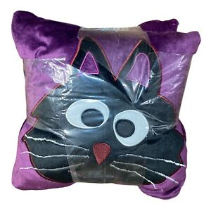 "HALLOWEEN PILLOW & THROW SET - THROW SIZE 50"" X 60""/PILLOW 14"" X 14"" Purple Cat"