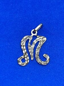 14K Yellow Gold Letter M Charm