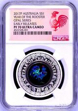 2017 Australia OPAL LUNAR Year of the ROOSTER 1oz Silver Proof Coin NGC PF70 ER