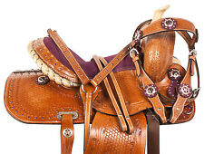 PRO 12 PURPLE WESTERN PONY TRAIL SHOW YOUTH CHILD KIDS SADDLE TACK SET