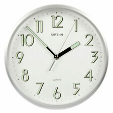 Traditional Rhythm Wall Clock - Super Luminous Silver Case Ideal for Kitchen