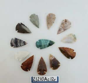 12 PIECE COLLECTION ARROWHEADS SPEARHEADS HAND KNAPPED AGATE, LOTS OF COLOR