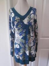 NWT Westbound Woman Winter Mum Print V-Neck Shirt w/ Whip Stitching Sz 3X