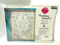 VTG PARAGON Embroidery WEDDING SAMPLER Floral Marriage Stamped Cross Stitch Kit