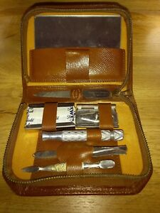 Men Vintage Travel Kit .leather Bound And Not Been Used .