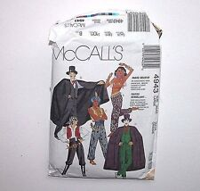 McCalls 4943 Halloween Pattern Buccaneer Genie Dracula Joker Magician Harem  L