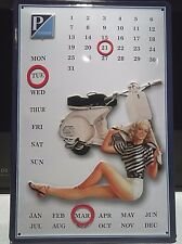 VESPA SCOOTERS: EMBOSSED METAL/ STEEL ADVERTISING SIGN/ CALENDAR pinup, PIAGGIO