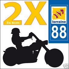 2 stickers autocollants style plaque immatriculation moto Département  88