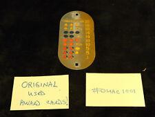 ORIGINAL USED MILLS ANTIQUE SLOT MACHINE OVAL METAL AWARD CARD #OUAC1001