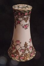 Hand Painted-Nippon-Hat Pin Holder Gold Moriage With Gold Jewels & Rose Bouquets