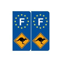 Stickers Autocollant F - Kangourou Australie France Sticker Autocollant Plaque i