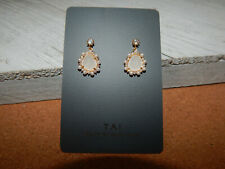 EARRINGS 'TAI' GOLD DROP STUDS MILKY STONE ANTHROPOLOGIE SMALL NWT $78