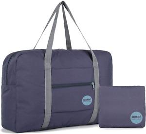 WANDF Foldable Travel Duffel Bag Luggage Sports Gym Water Resistant Nylon Navy