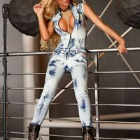 Damenoverall Hose Overall Einteiler Jumpsuit Catsuit Jeansoverall 32-38 #O46