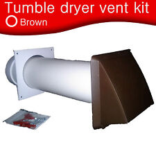 """Universal tumble dryer wall vent kit brown cowl 100mm round for 4"""" 100mm Hose"""