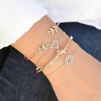 Opening Women Jewelry Leaves Knot Bracelet Wristband Gold Plated Cuff Bangle