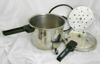 VINTAGE PRESTO PRESSURE COOKER CANNER 6 QT POT STAINLESS STEEL WEIGHT RACK