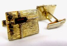 Vintage Mid Century Gold Toned Ruby Red Stone Wrapped Present Metal Cuff Links