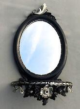 Espejo de Pared Negro Plata Barroco con consola antiguo 48x25 OVALADO CP91