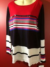 LIZ CLAIBORNE Women's Cabarnet Red Striped Light Sweater - Size 1X - NWT $54