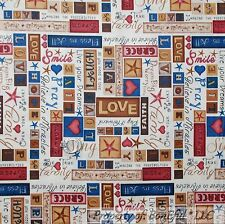 BonEful Fabric FQ Cotton Quilt Red Blue Word American Country Stripe Star Heart