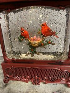 "Christmas Snow Globe Water SWIRLING Lighted Cardinal Bird 12"" (B77) Babies"