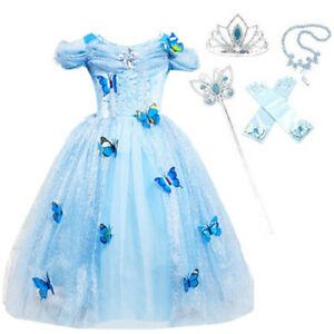Cinderella Dress Girls Princess Costume Party Dress Up Butterfly Kids Cosplay
