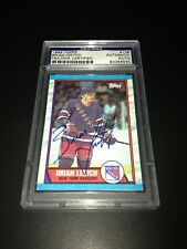 Brian Leetch Signed 1989-90 Topps Rookie Card NY Rangers PSA Slabbed #83356560