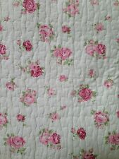 Shabby Cottage Chic ROMANTIC PINK ROSES & BUTTER CREAM KING QUILT SET 3PC